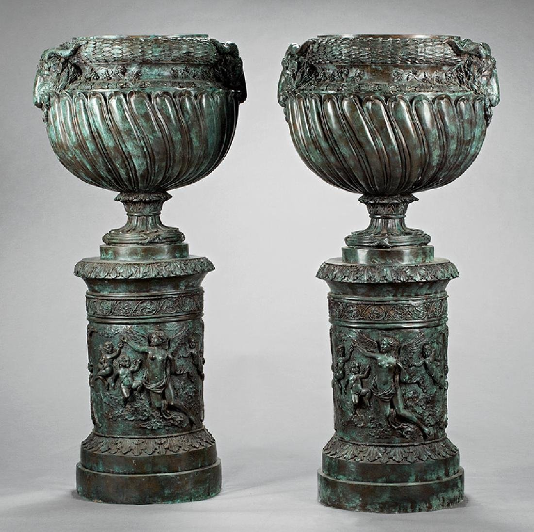 Neoclassical-Style Patinated Bronze Urns