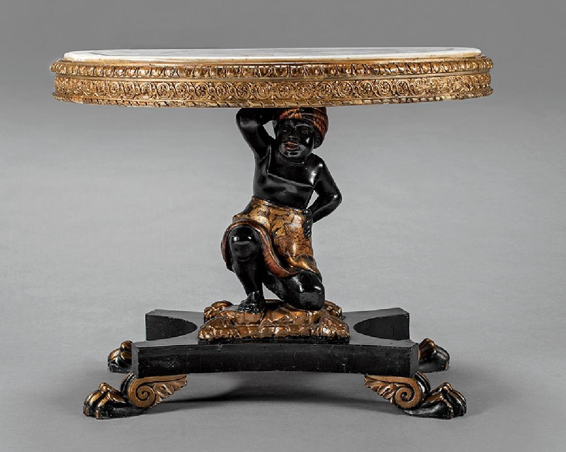 Venetian Ebonized and Parcel Gilt Figural Table