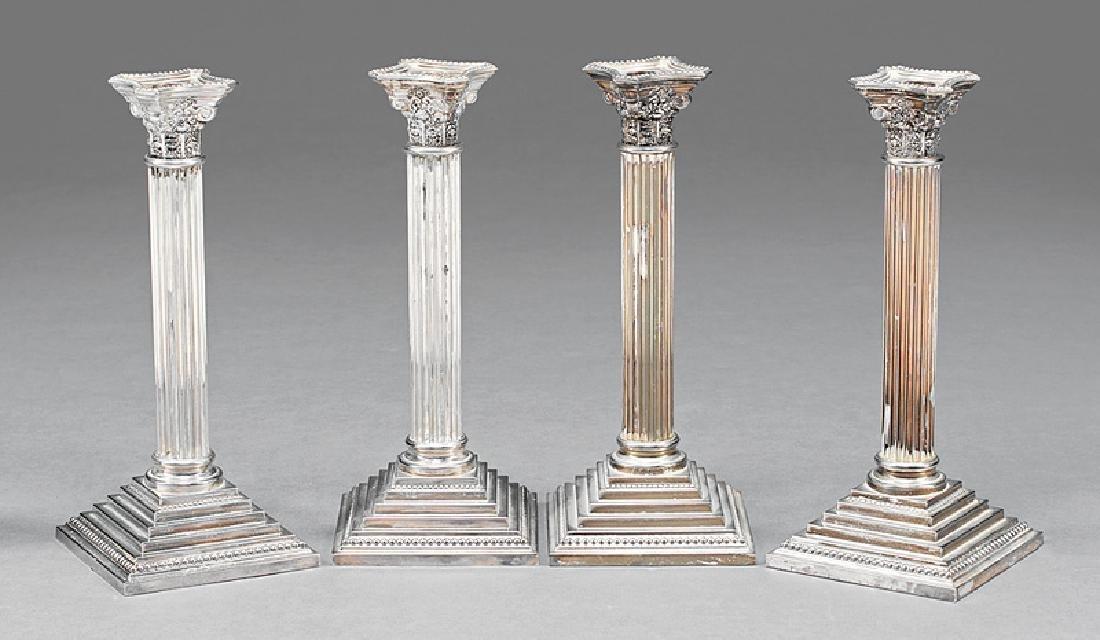 Silverplate Corinthian Column Candlesticks