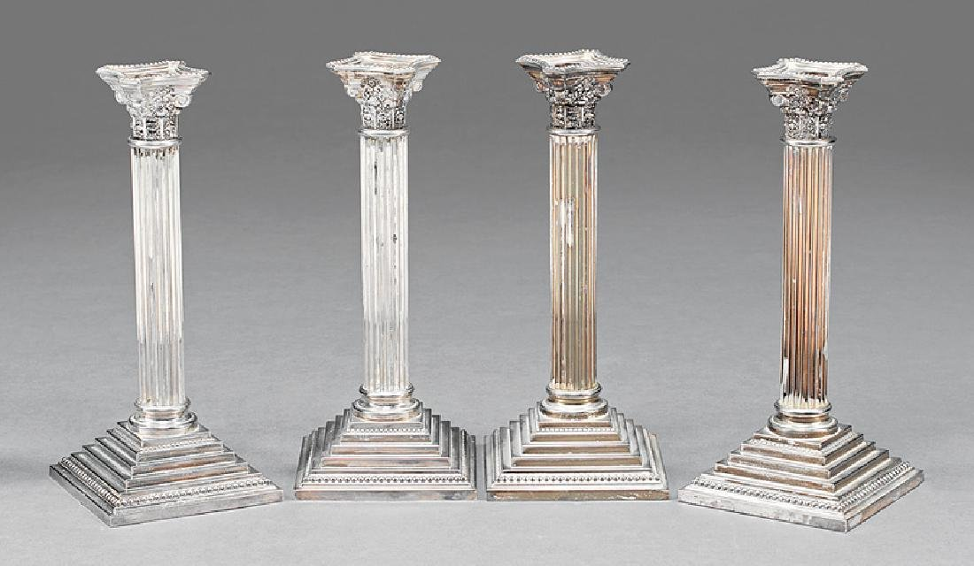 Silverplate Corinthian Column Candlesticks