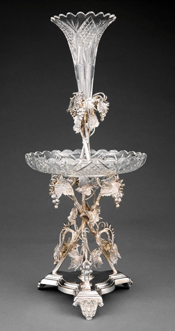 Mappin Brothers Silverplate ,Cut Crystal Epergne