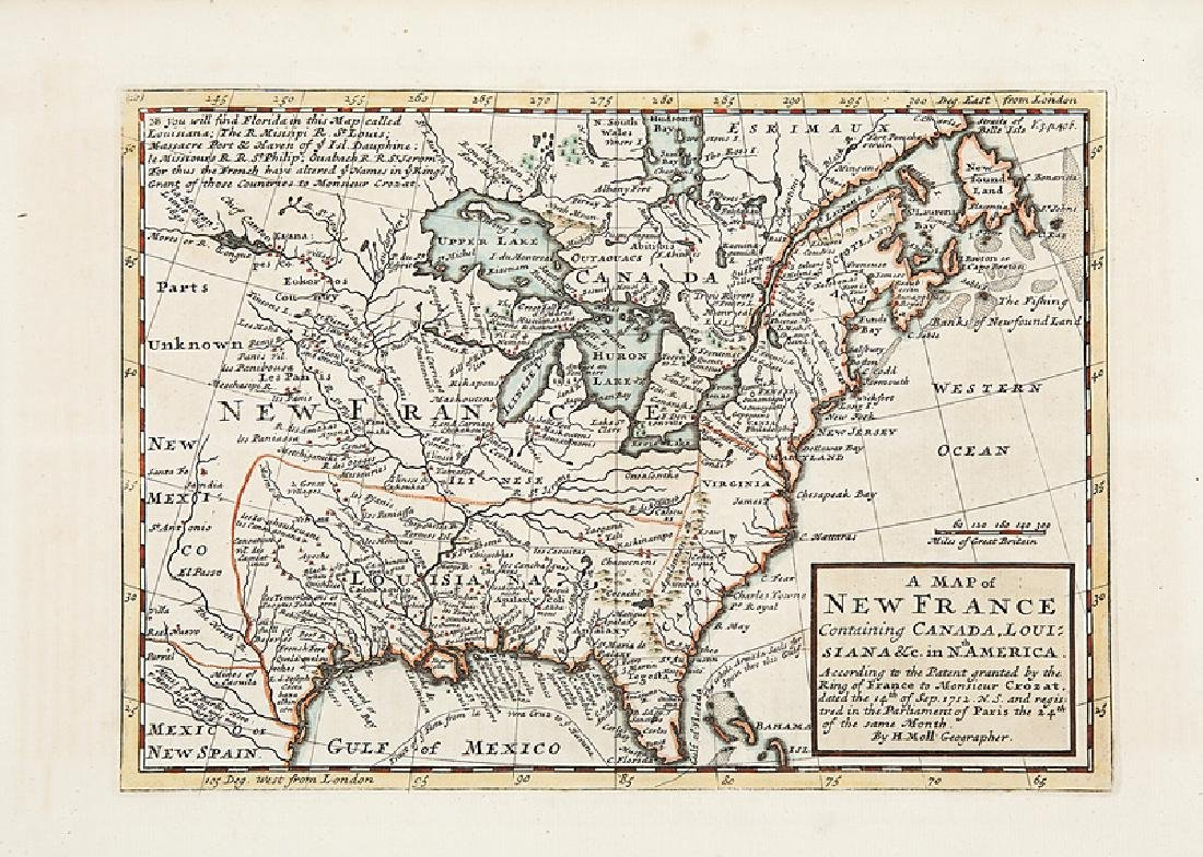 Herman Moll Map of New France, 1717