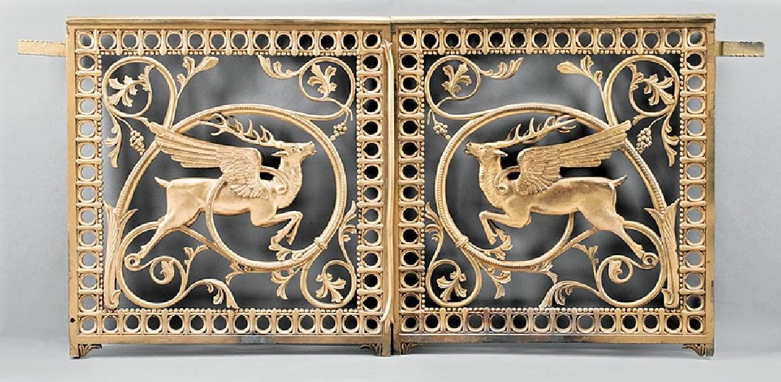 Pair of French Neoclassical Gilt Bronze Gates