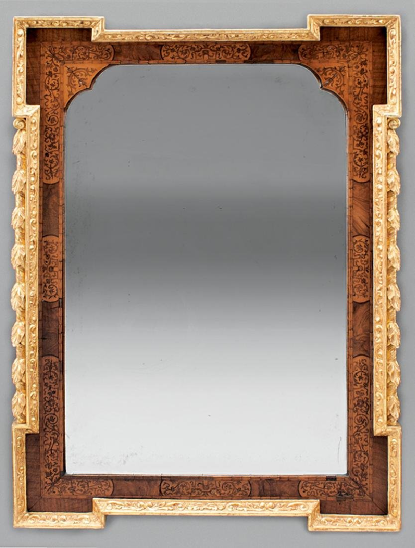 George III Carved, Gilded, Inlaid Mahogany Mirror