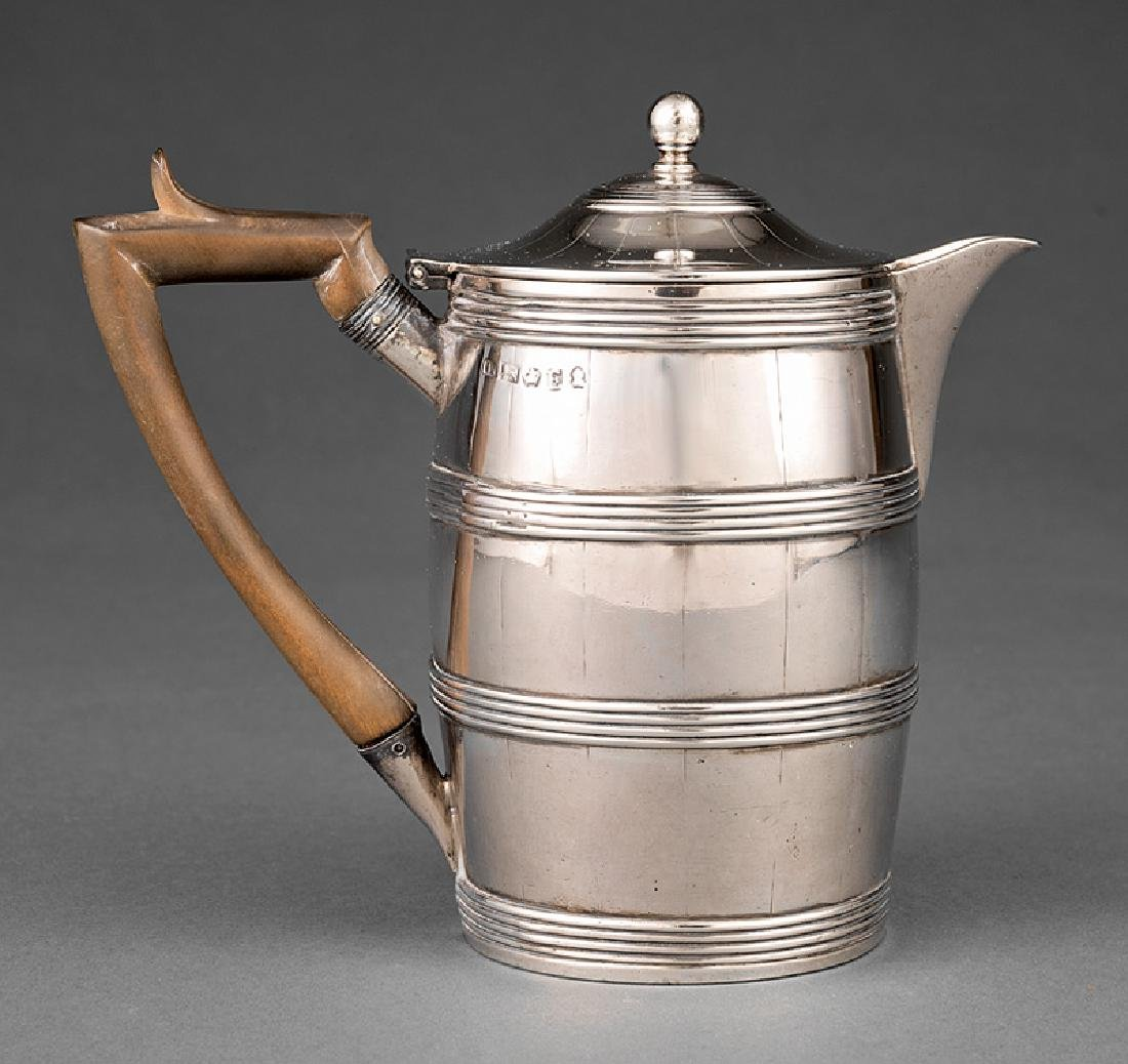Sterling Silver Barrel-Form Hot Milk Jug