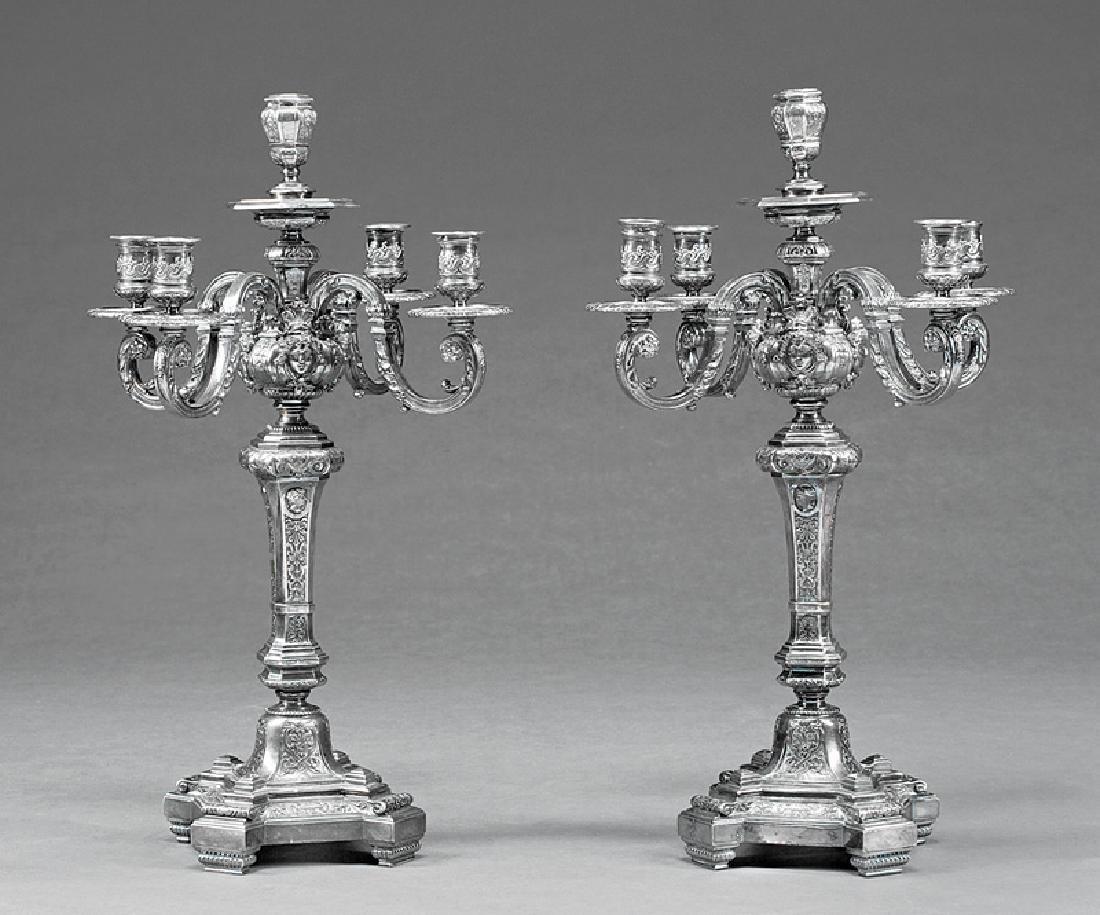 Louis XIV-Style Silverplate Five-Light Candelaba Pair