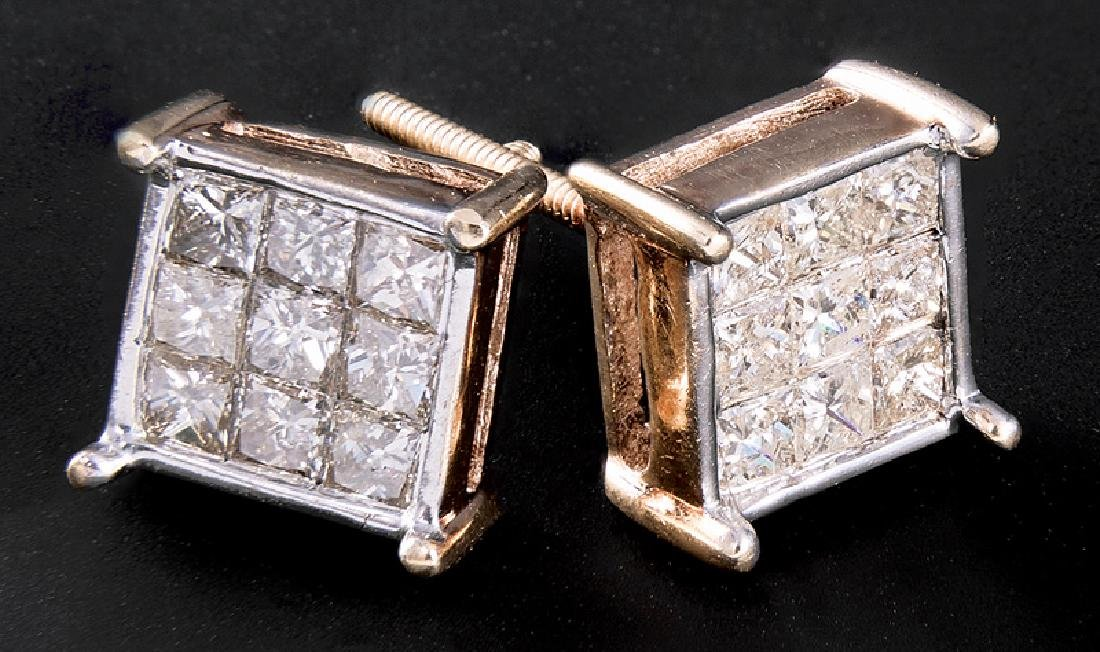 Yellow Gold and Diamond Square Stud Earrings