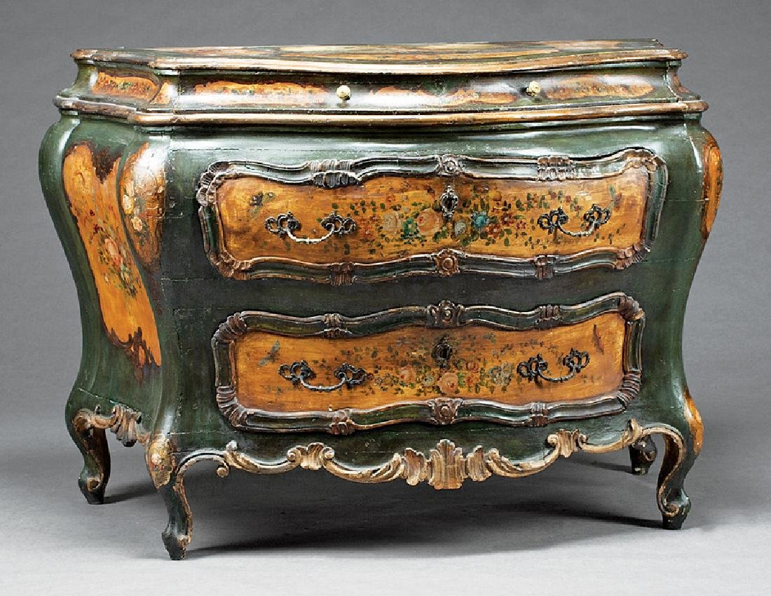 Paint-Decorated, Parcel Gilt Bombe Commode