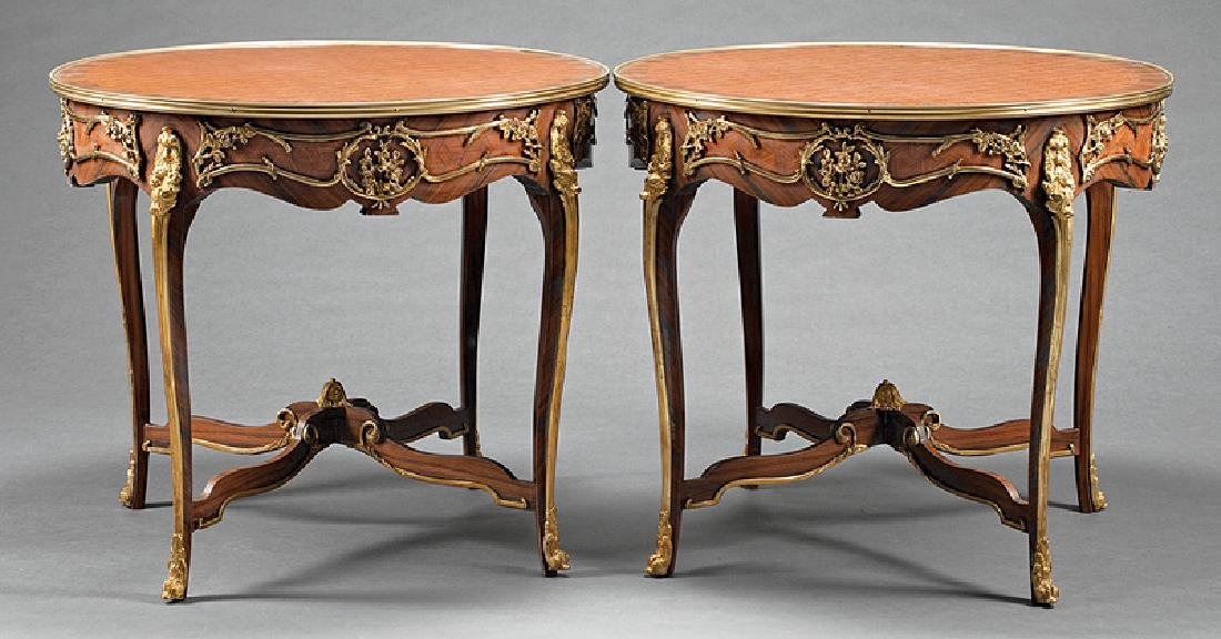 Louis XV-Style Bronze-Mounted, Inlaid Gueridons