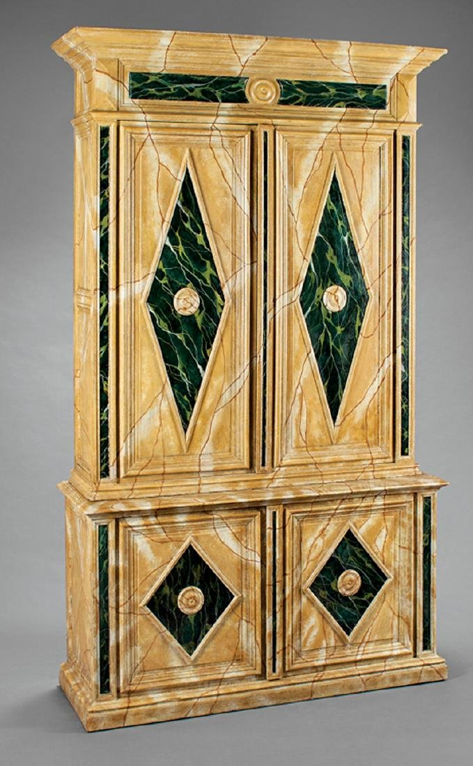 Neoclassical-Style Faux Marbre Cabinet