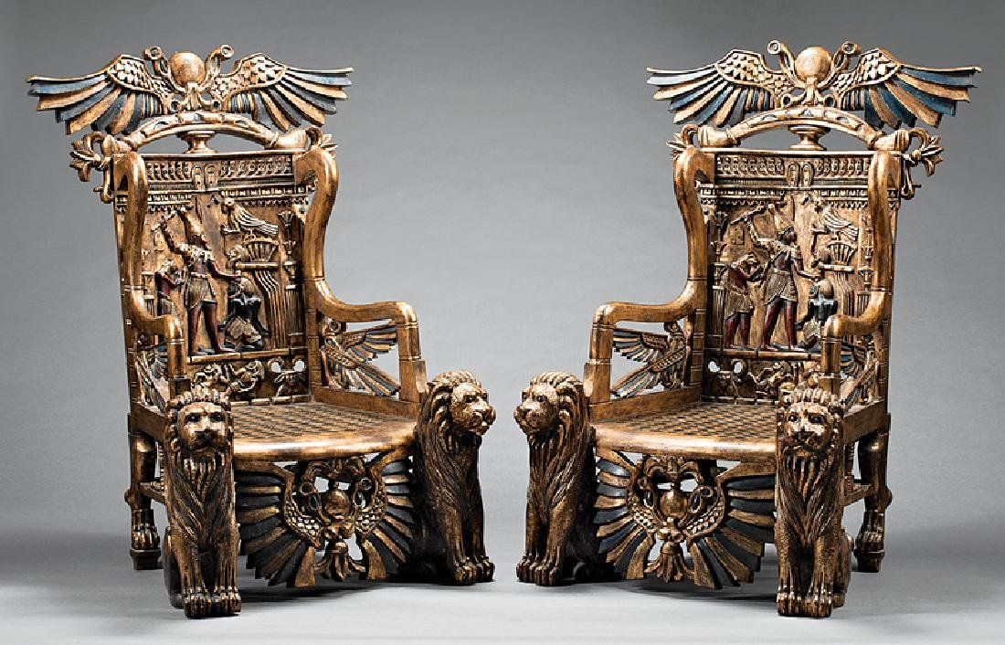 Egyptianesque Carved, Polychromed, Throne Chairs