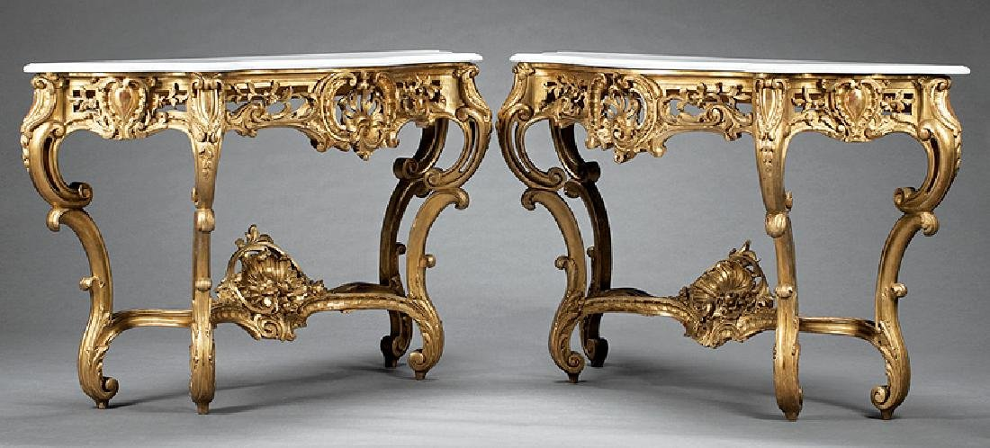 Rococo-Style Carved Giltwood Console Tables