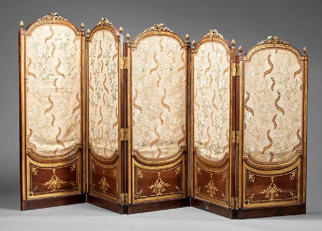 Carved and Parcel Gilt Mahogany Folding Screen