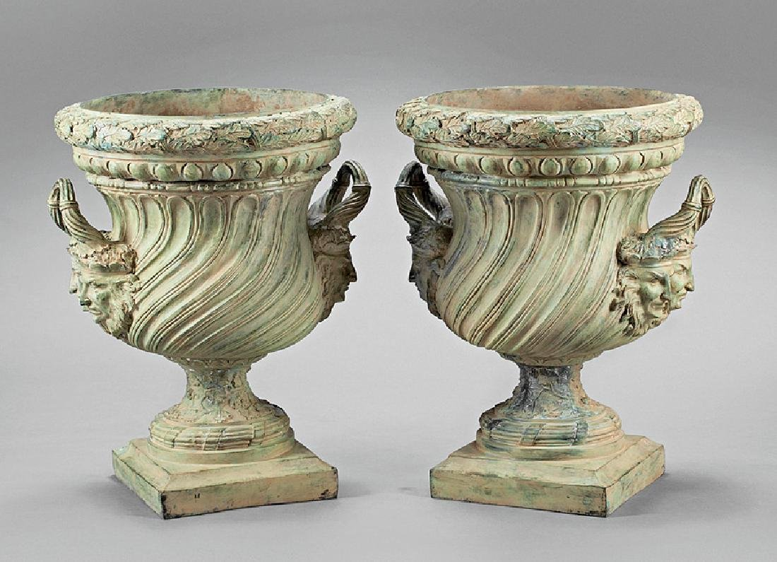 Pair of Pompeian-Style Patinated Bronze Urns