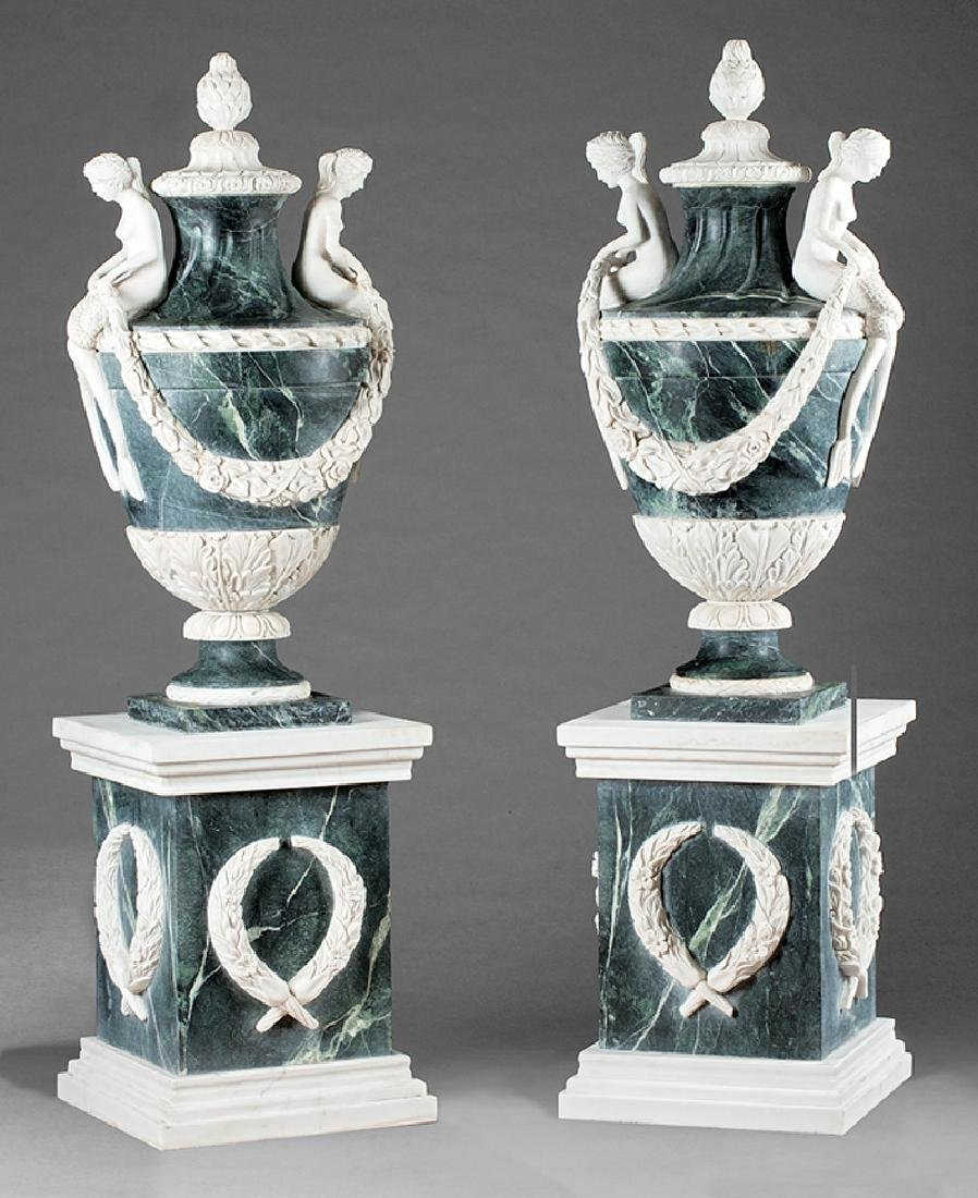 White and Green Marble Urns on Pedestals