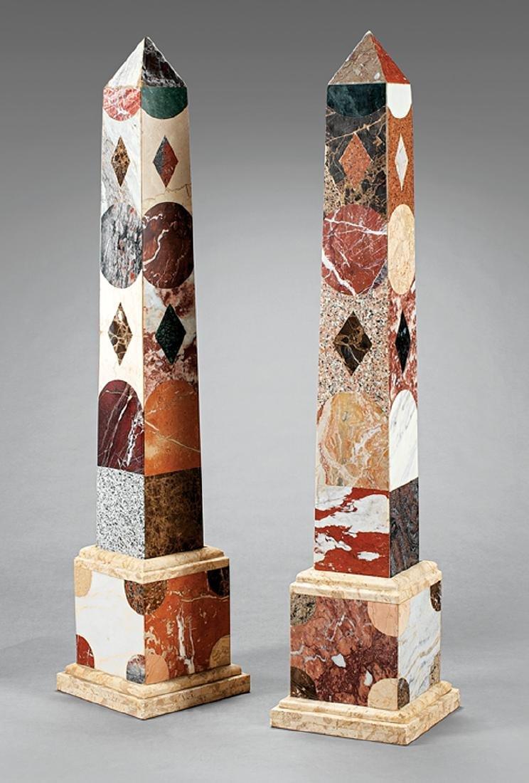 Monumental Pair of Specimen Marble Obelisks