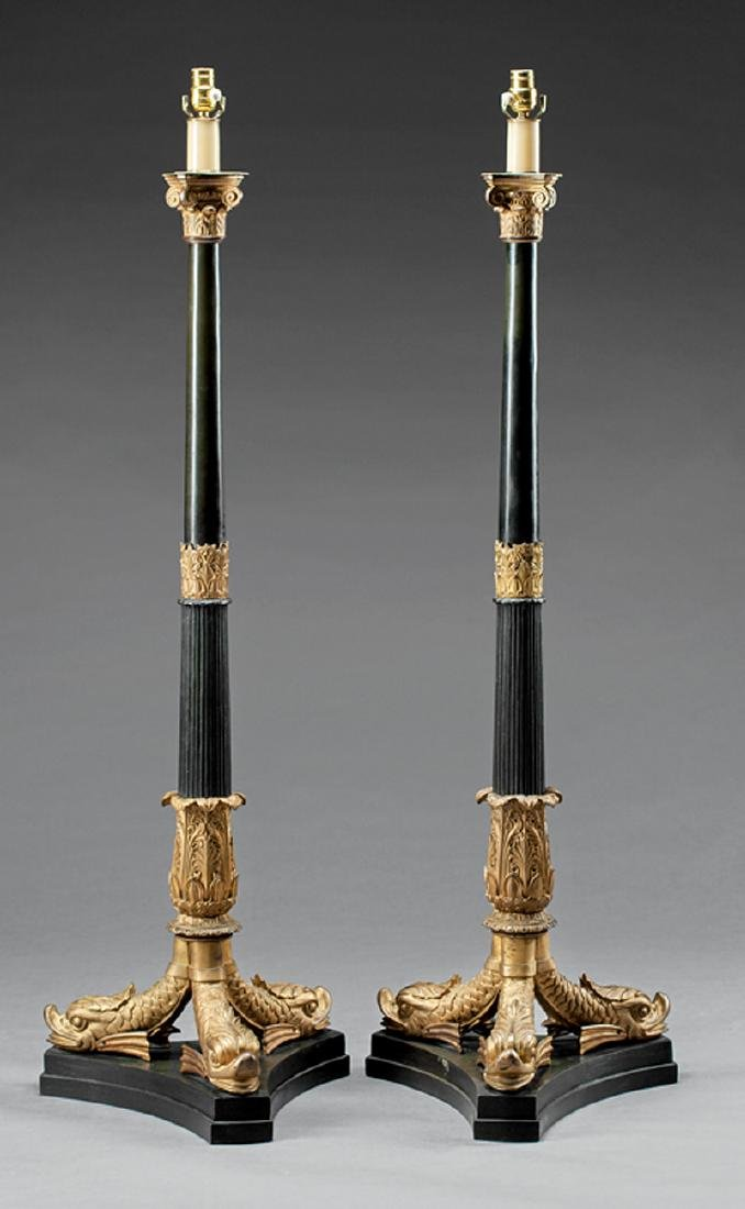 Empire-Style Gilt and Patinated Bronze Torcheres