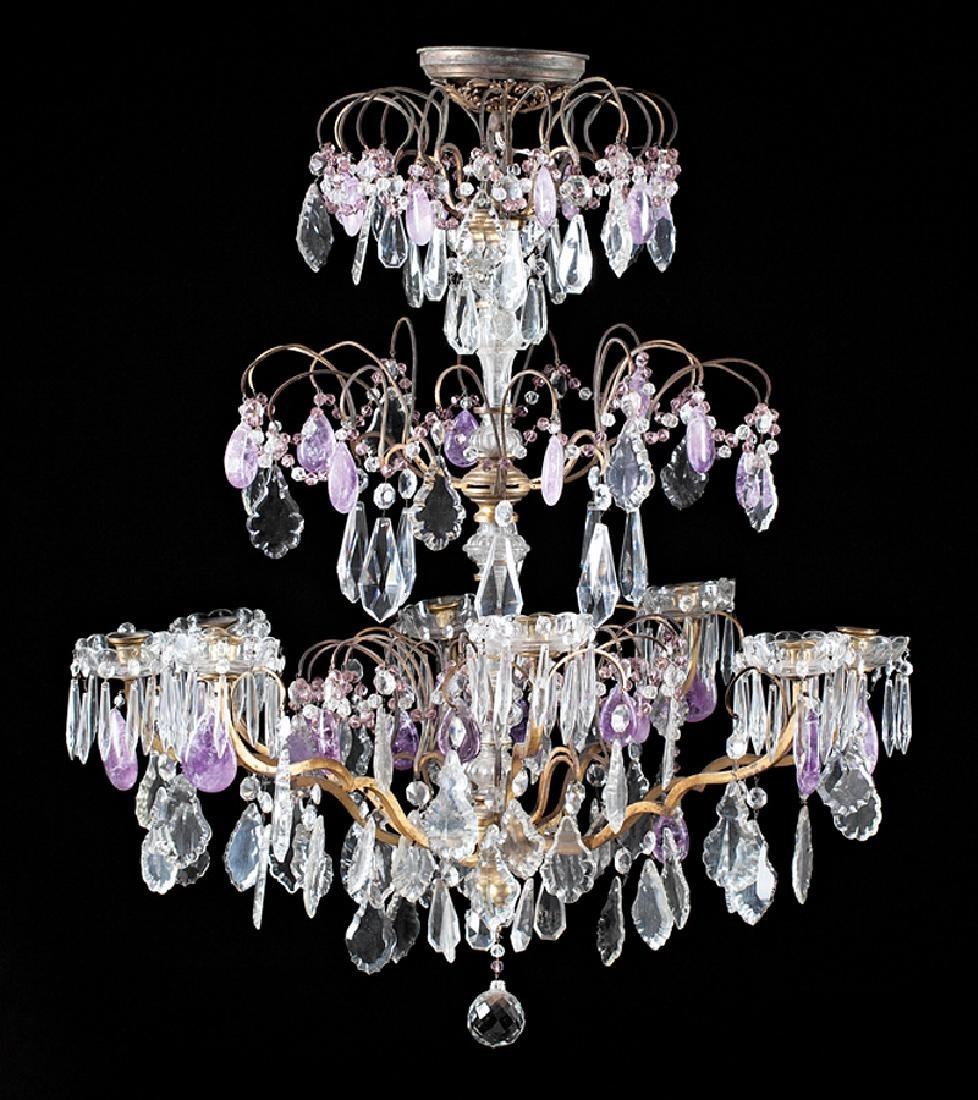 Bronze Cut Crystal and Amethyst Chandelier