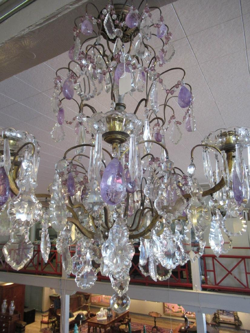 Bronze Cut Crystal and Amethyst Chandelier - 2