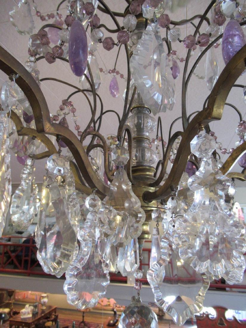 Bronze Cut Crystal and Amethyst Chandelier - 3