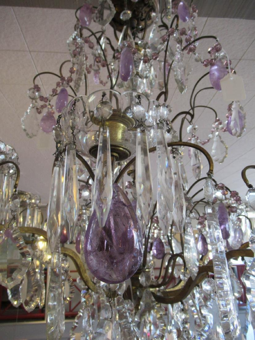 Bronze Cut Crystal and Amethyst Chandelier - 4