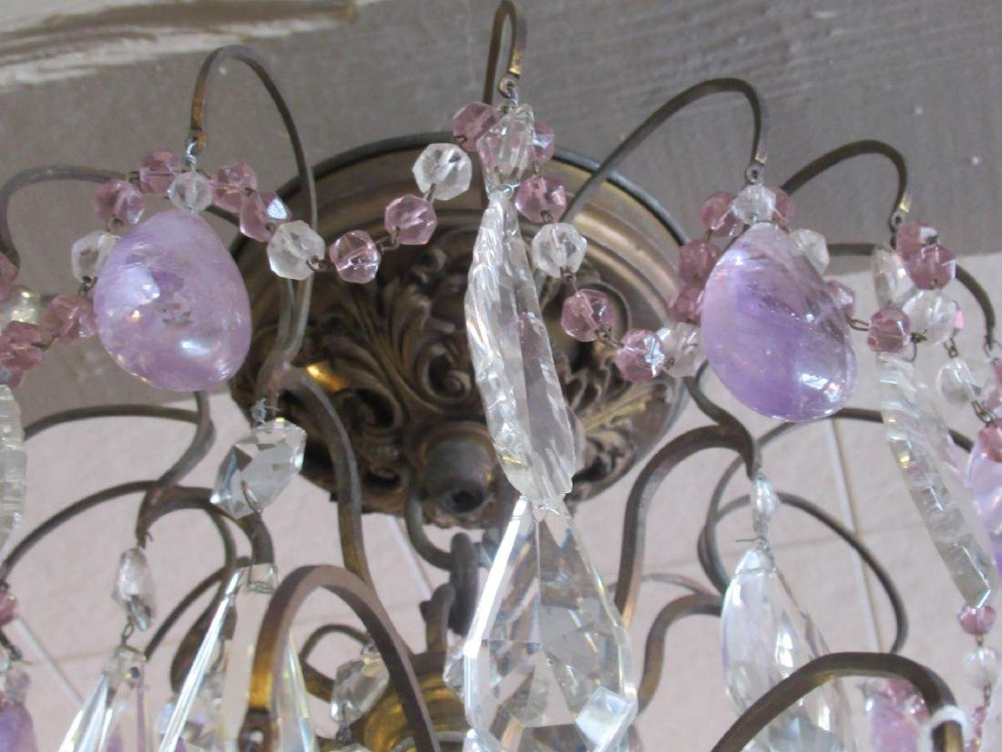 Bronze Cut Crystal and Amethyst Chandelier - 6