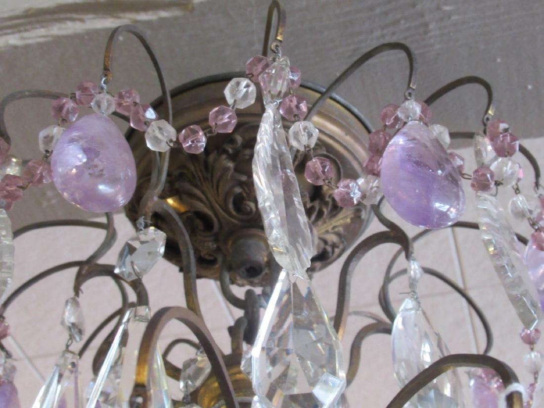 Bronze Cut Crystal and Amethyst Chandelier - 6