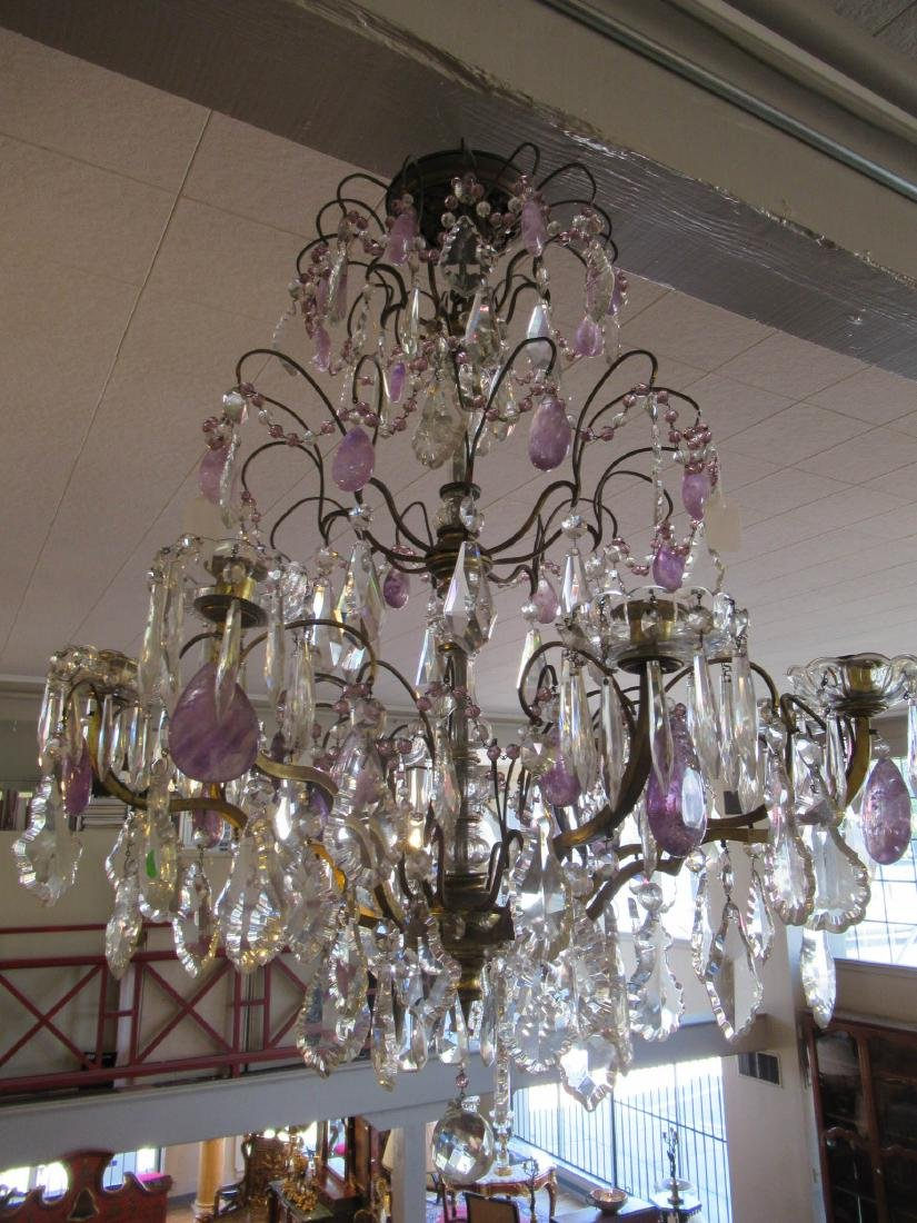 Bronze Cut Crystal and Amethyst Chandelier - 7