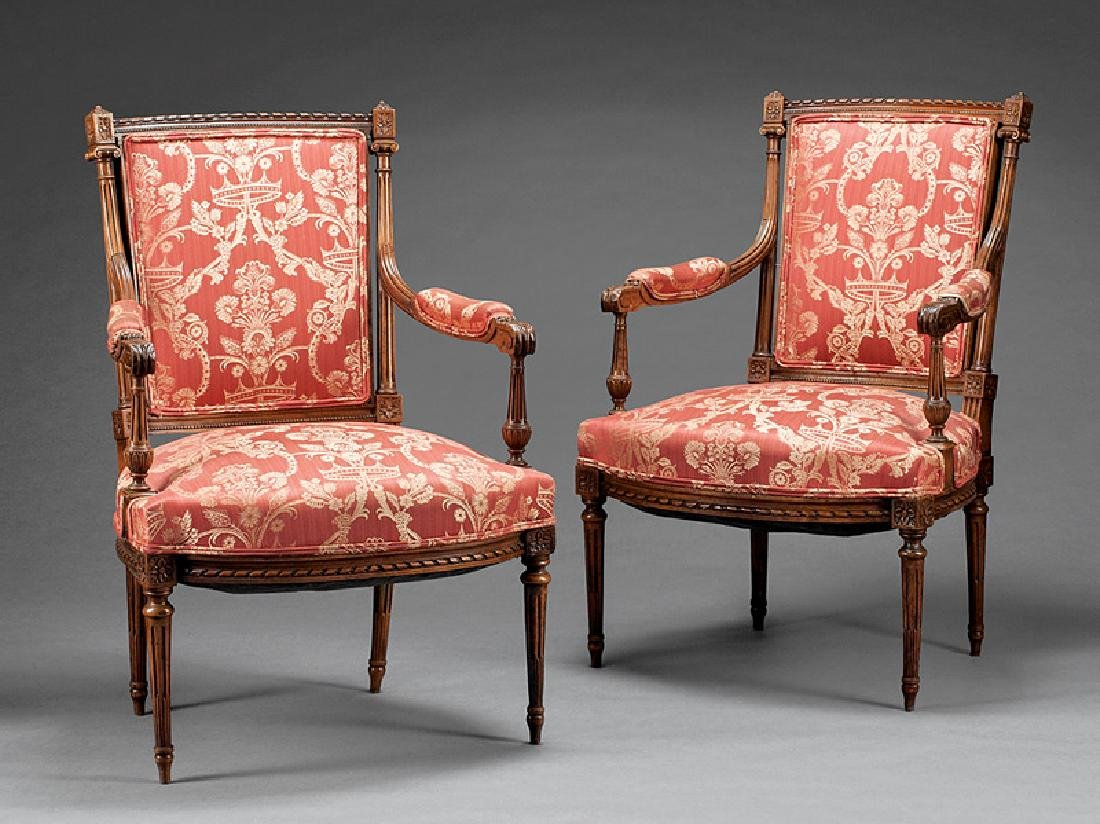Louis XVI-Style Carved Beechwood Fauteuils