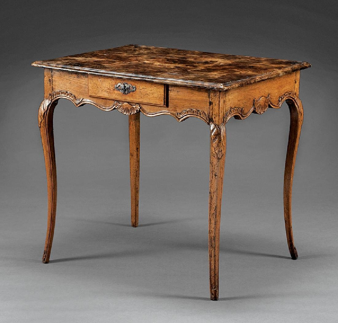 Antique French Provincial Carved Walnut Table