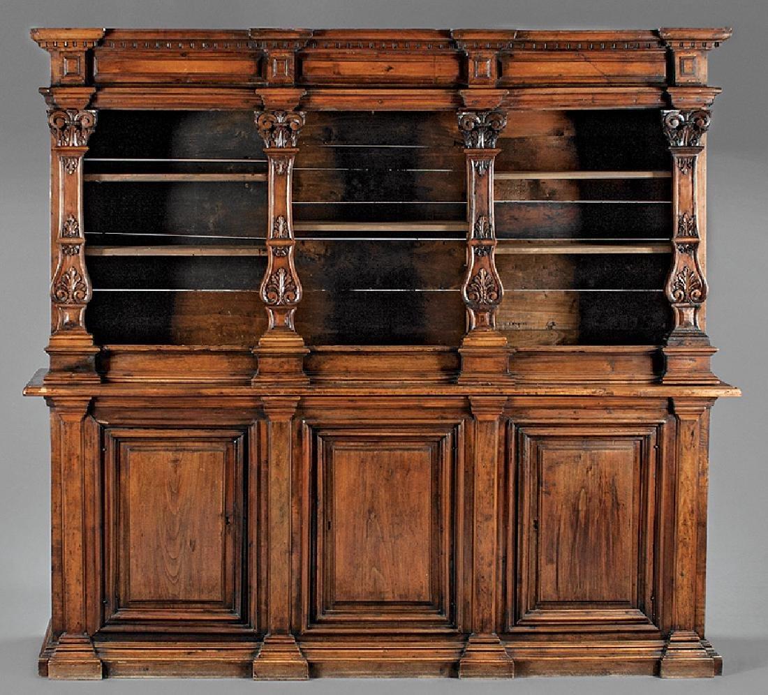 Italian Renaissance Carved Walnut Bookcase