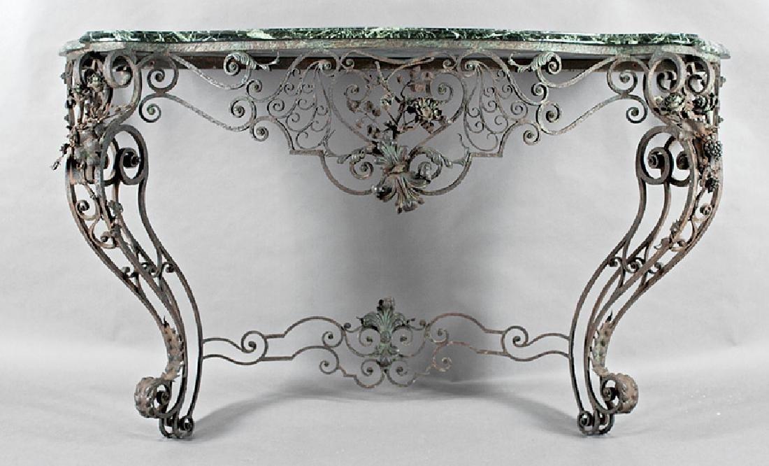 Rococo-Style Tole Peinte and Wrought Iron Console