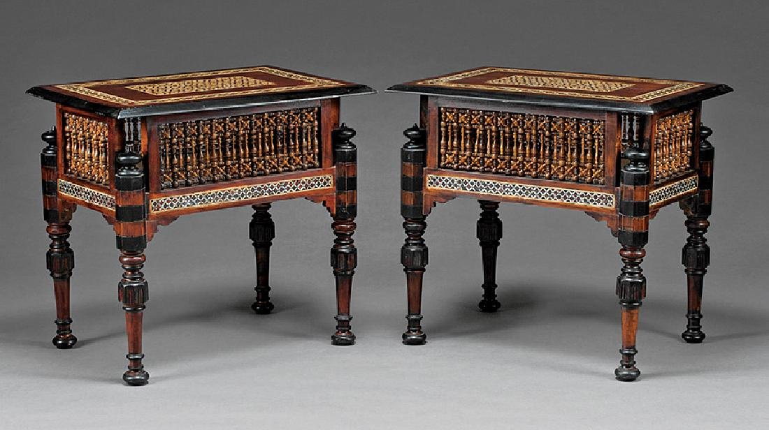 Pair of Moorish Ebonized and Inlaid Tables