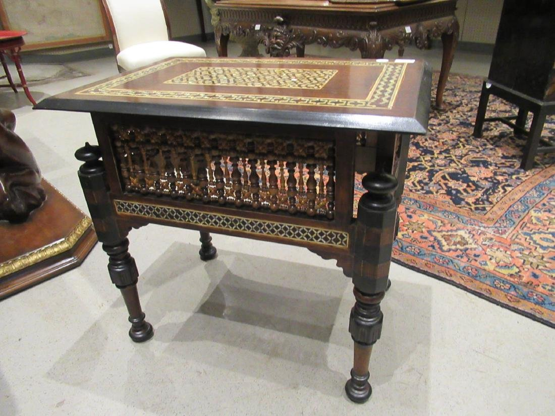Pair of Moorish Ebonized and Inlaid Tables - 6