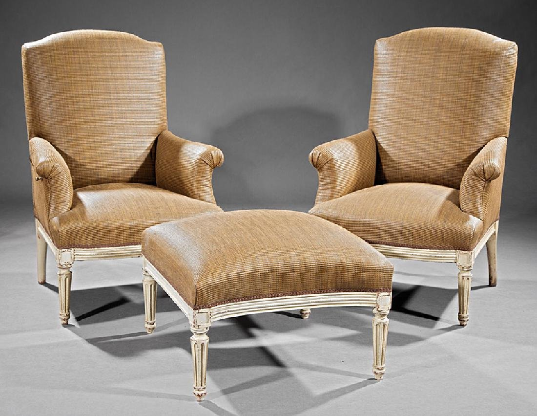 Louis XVI-Style Three-Part Creme Peinte Duchesse