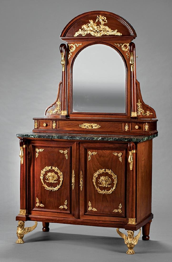 Bronze-Mounted Carved Mahogany Dressing Bureau