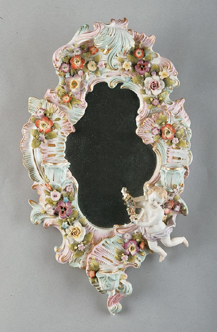 Meissen Porcelain Mirrored Wall Sconce