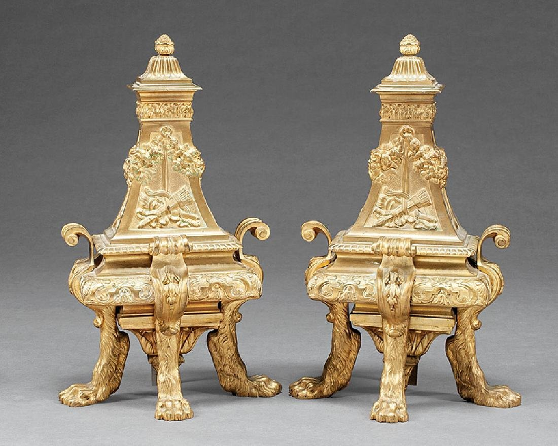 Pair of Regence-Style Bronze Chenets