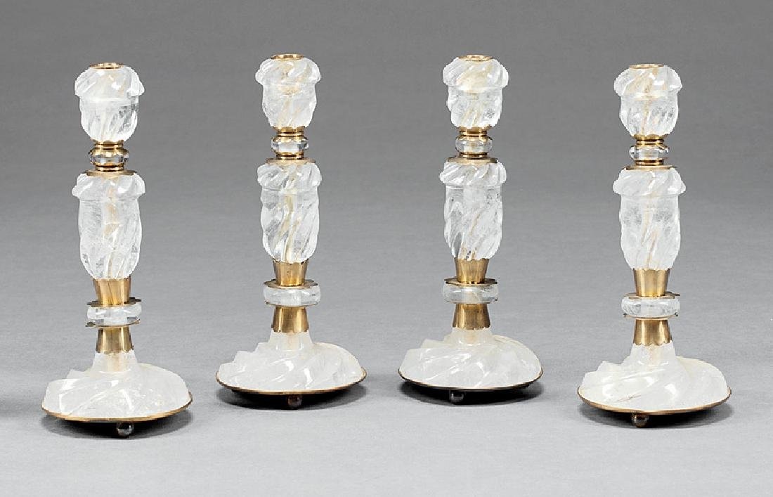 Four Brass-Mounted Rock Crystal Candlesticks