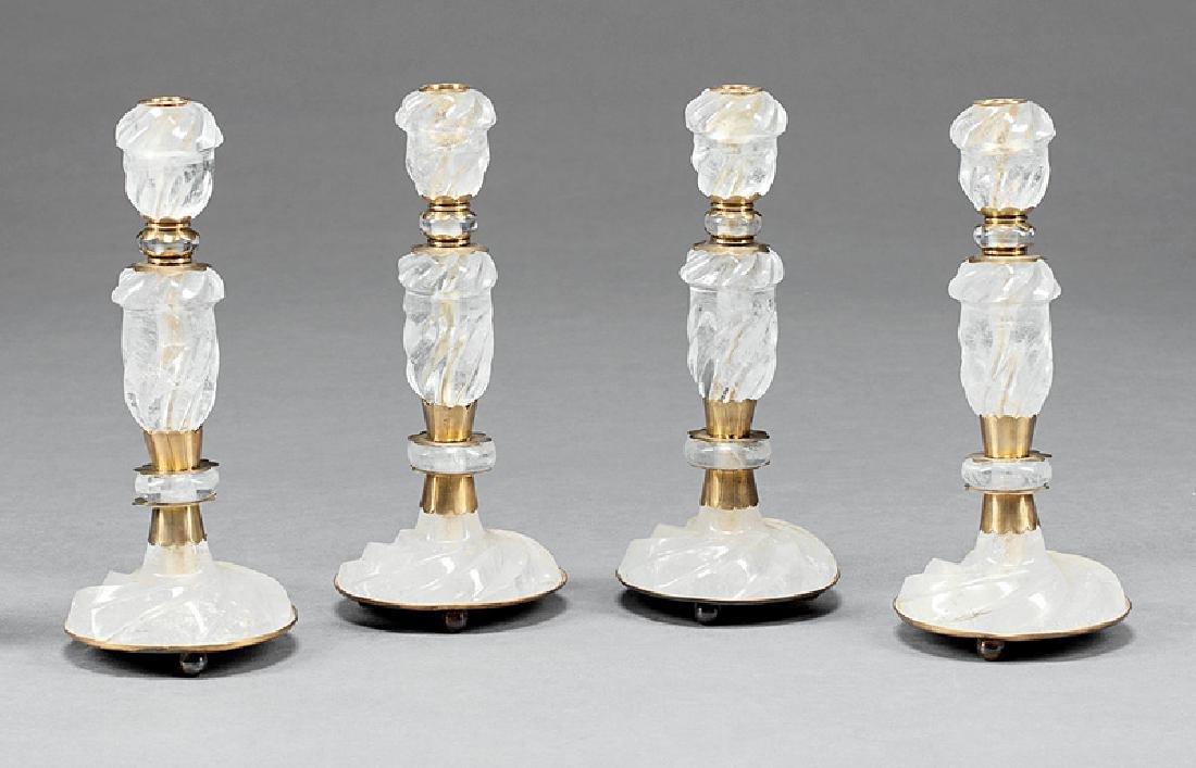 Four Brass-Mounted Rock Crystal Candlesticks