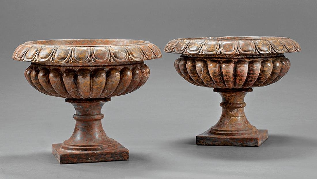 Pair of Italian Red Variegated Marble Tazzas