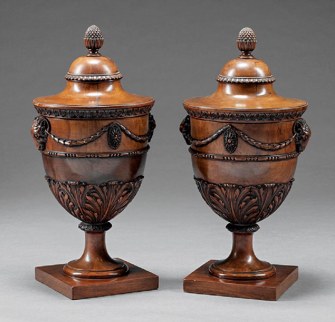 Pair of Edwardian Carved Mahogany Cutlery Urns