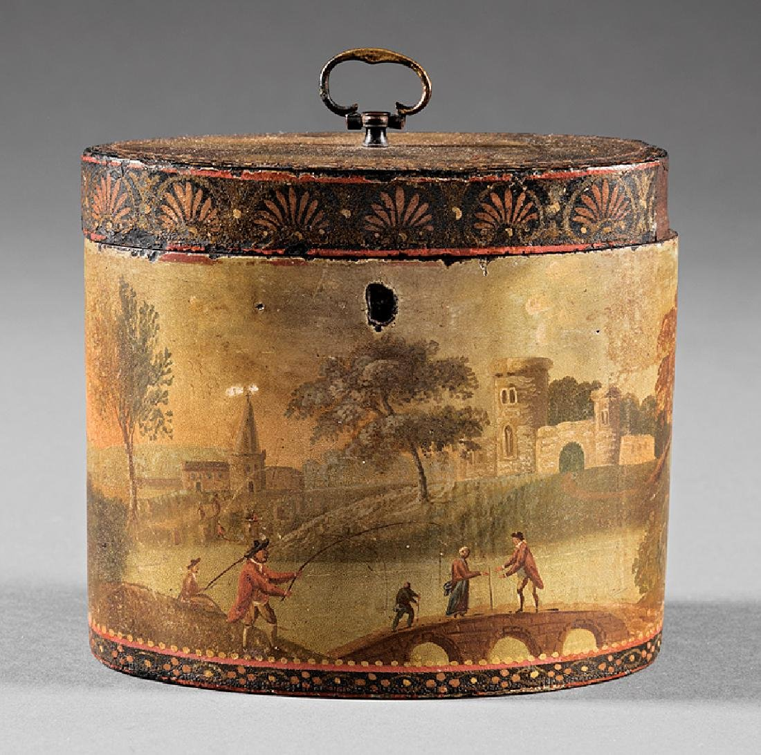 George III Polychrome Painted Tea Caddy