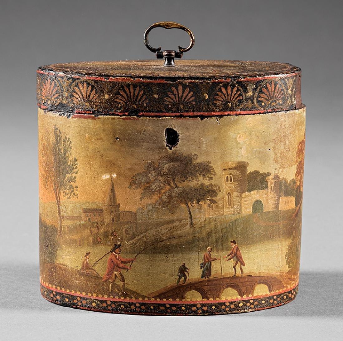 George III Polychrome Painted Tea Caddy