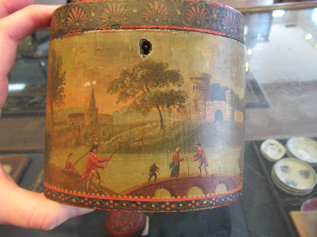 George III Polychrome Painted Tea Caddy - 3