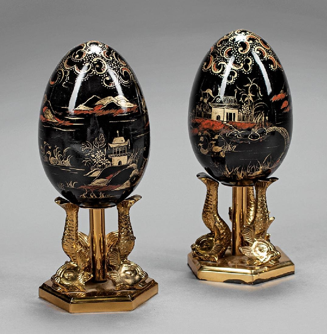 Pair of Decorative Brass Chinoiserie Eggs