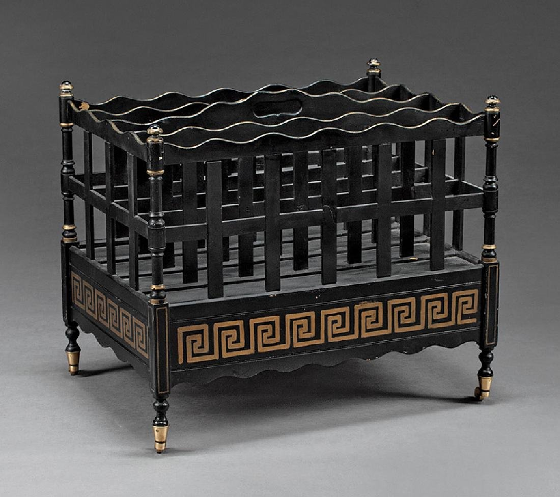 Georgian-Style Ebonized and Inlaid Canterbury