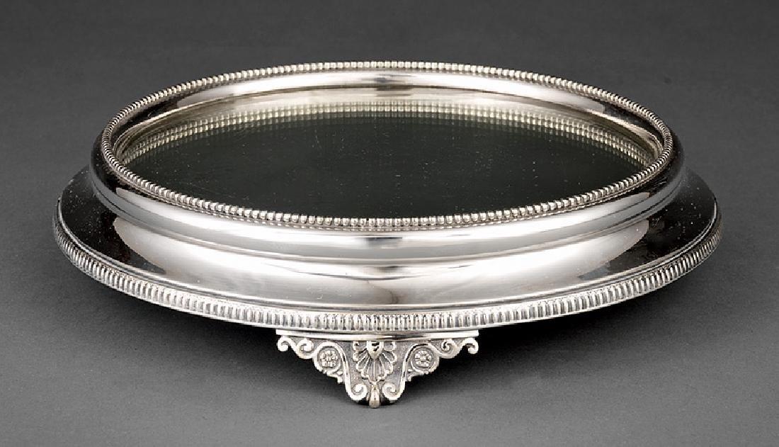 Antique English Silverplate Mirrored Plateau