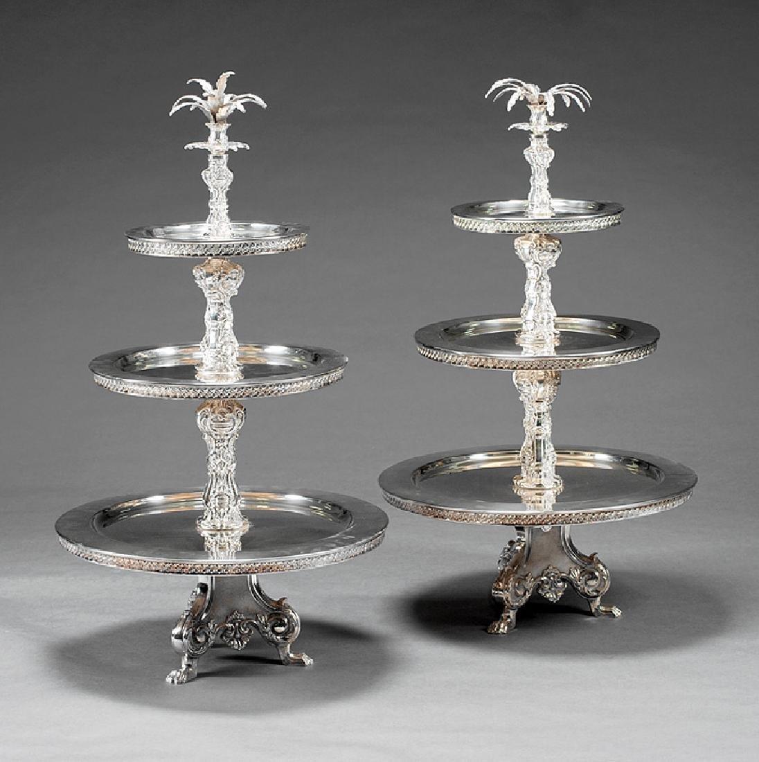 Pair of Silverplate Three-Tier Dessert Stands