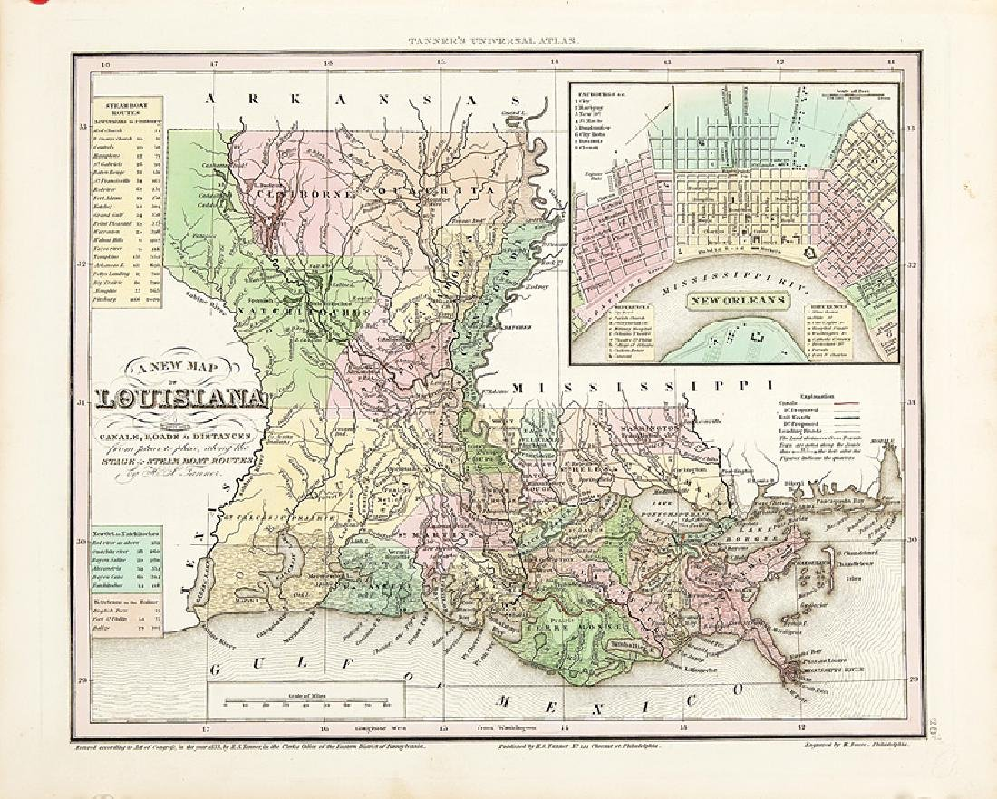 Group of Seven Antique Louisiana Maps - 6